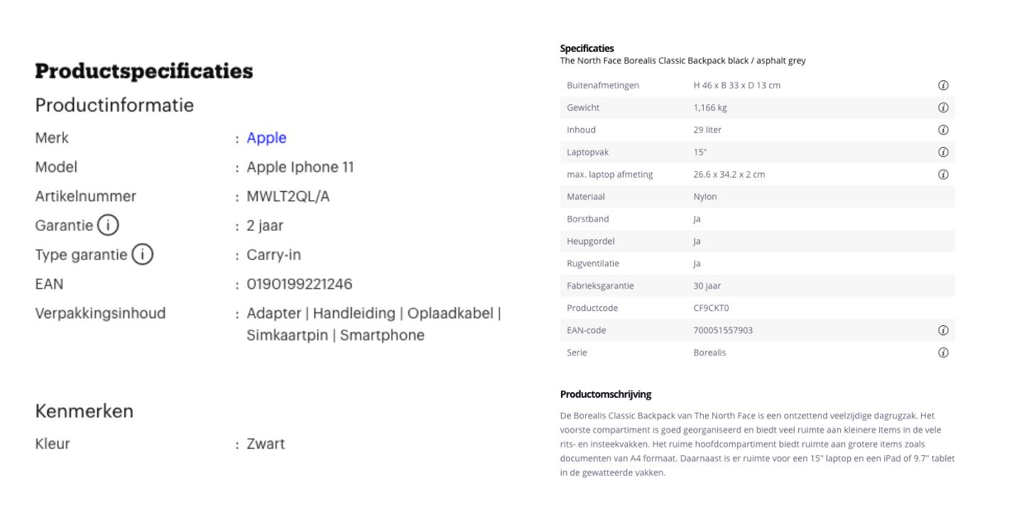 Voorbeelden van bol.com en travelbags.nl over duidelijke en complete productinformatie.