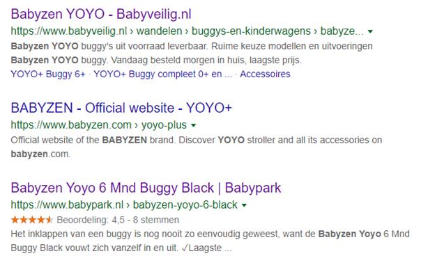 Rich snippets voorbeeld van Babyveilig en Babypark.