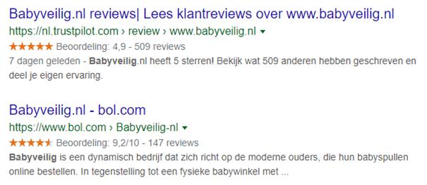 Voorbeeld rich snippet reviewscores in Trustpilot en Bol.com.