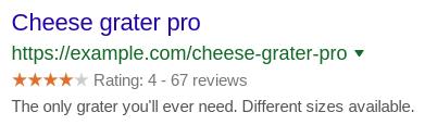 Rich snippet in Google voorbeeld.