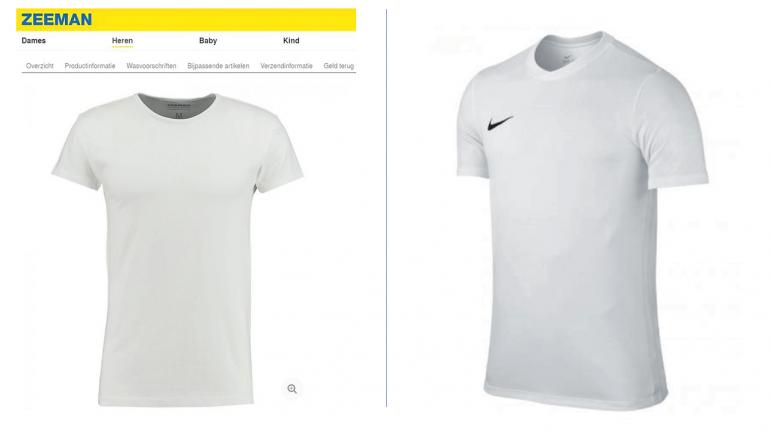 Vergelijking van twee witte T-shirts: Zeeman en Nike.