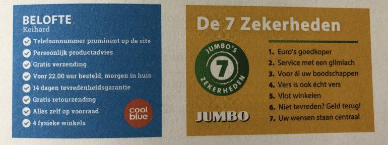 Voorbeelden van de klantbeloftes van Coolblue en Jumbo.