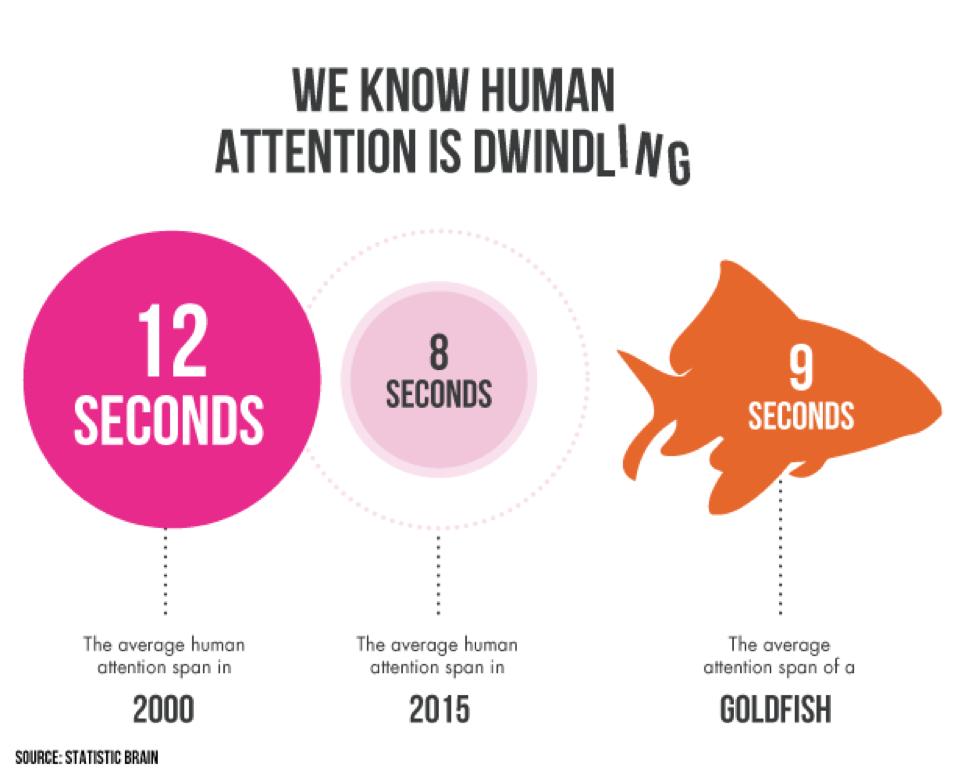 Schema met daarin de informatie dat een goudvis maar 9 seconden de aandacht erbij kan houden.