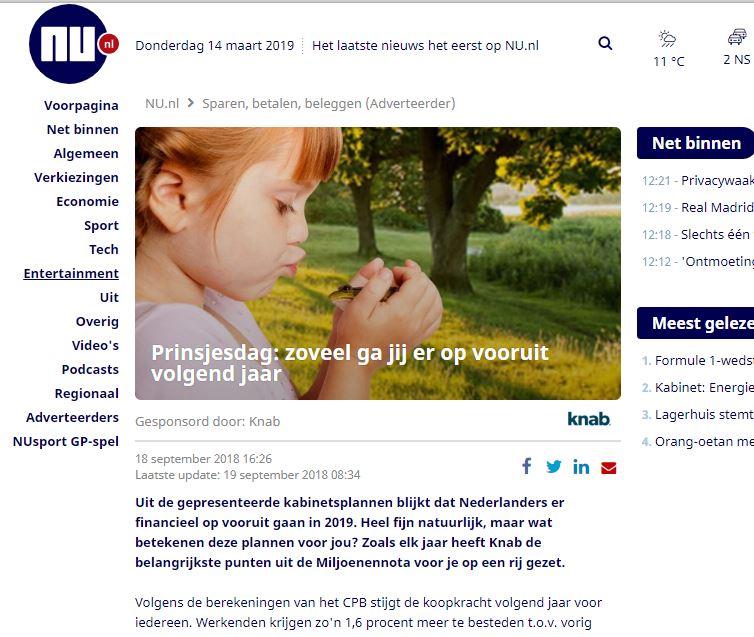 Knab advertorial op Nu.nl.