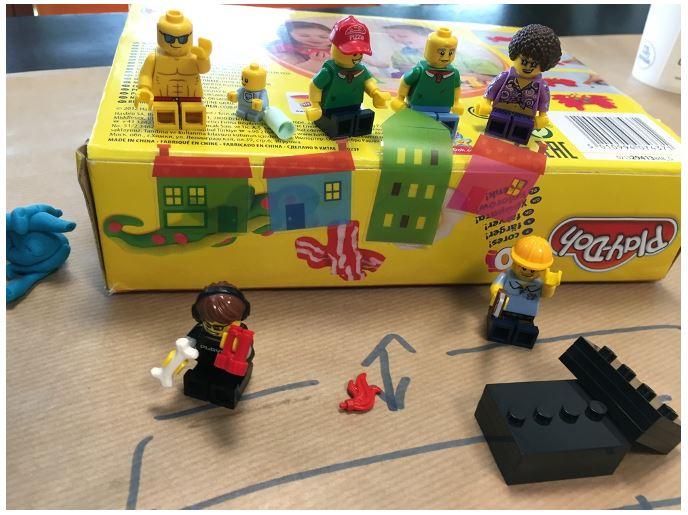 Een foto van lego-poppetjes die samen de corporate story vertellen.