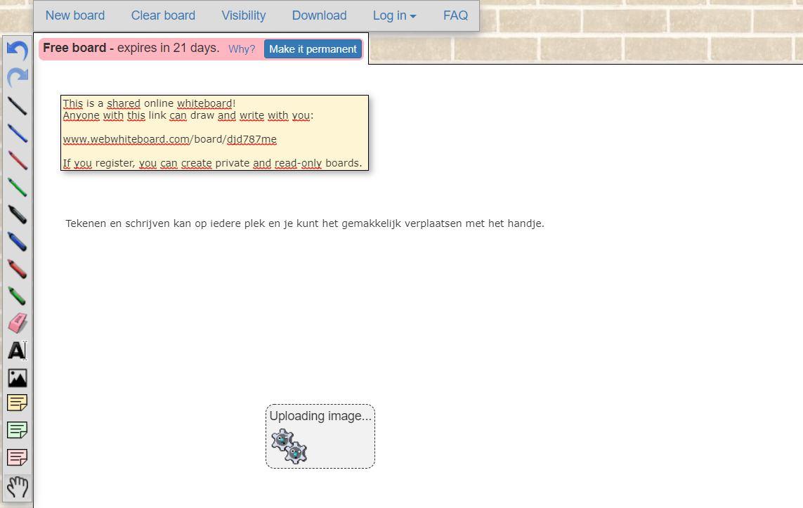 Screenshot van de whiteboard-tool Web Whiteboard.