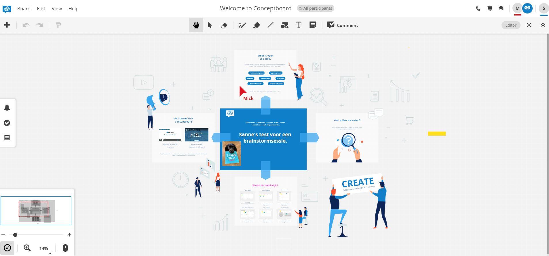 Screenshot van de brainstorm-tool Conceptboard.
