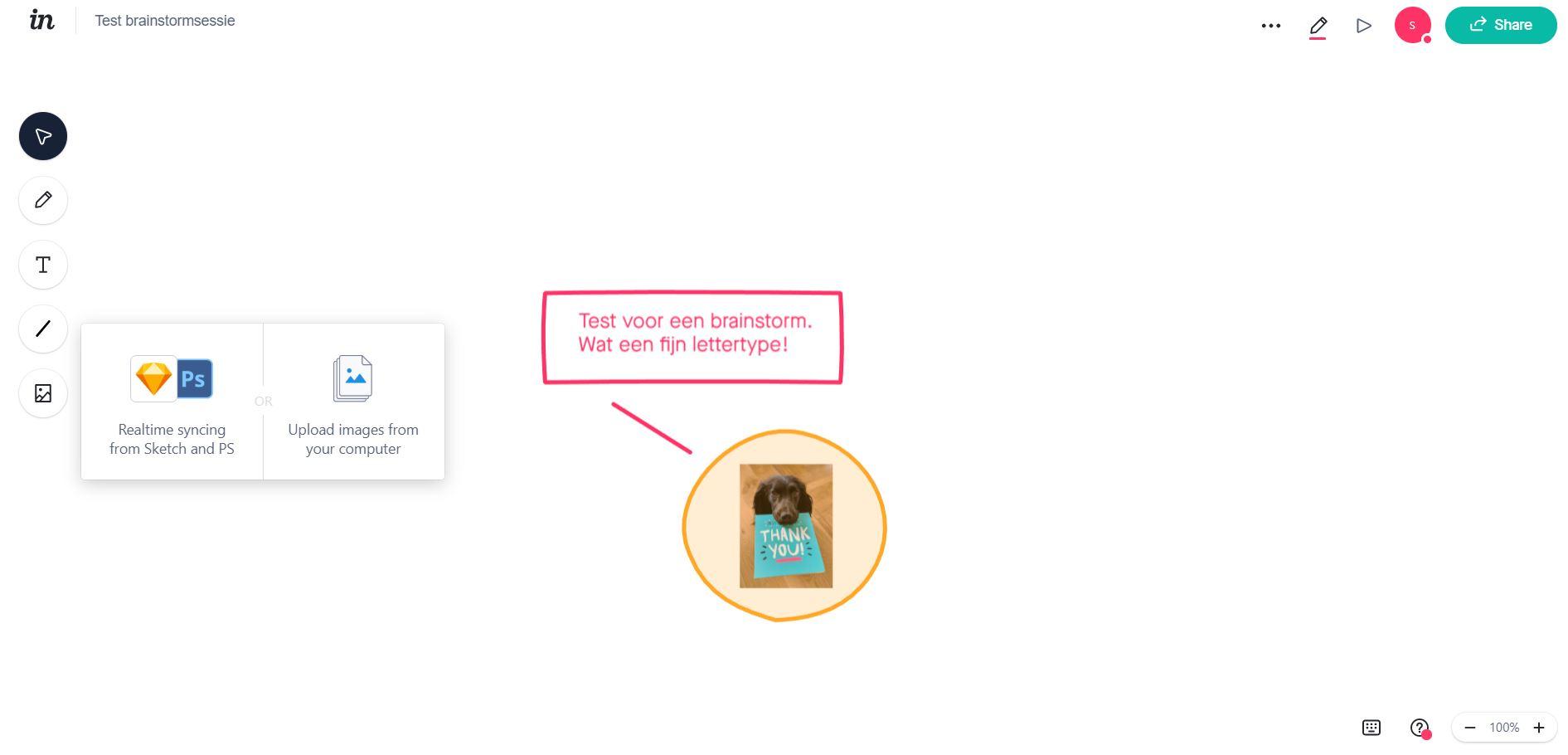 Screenshot van de whiteboard-tool InVision.
