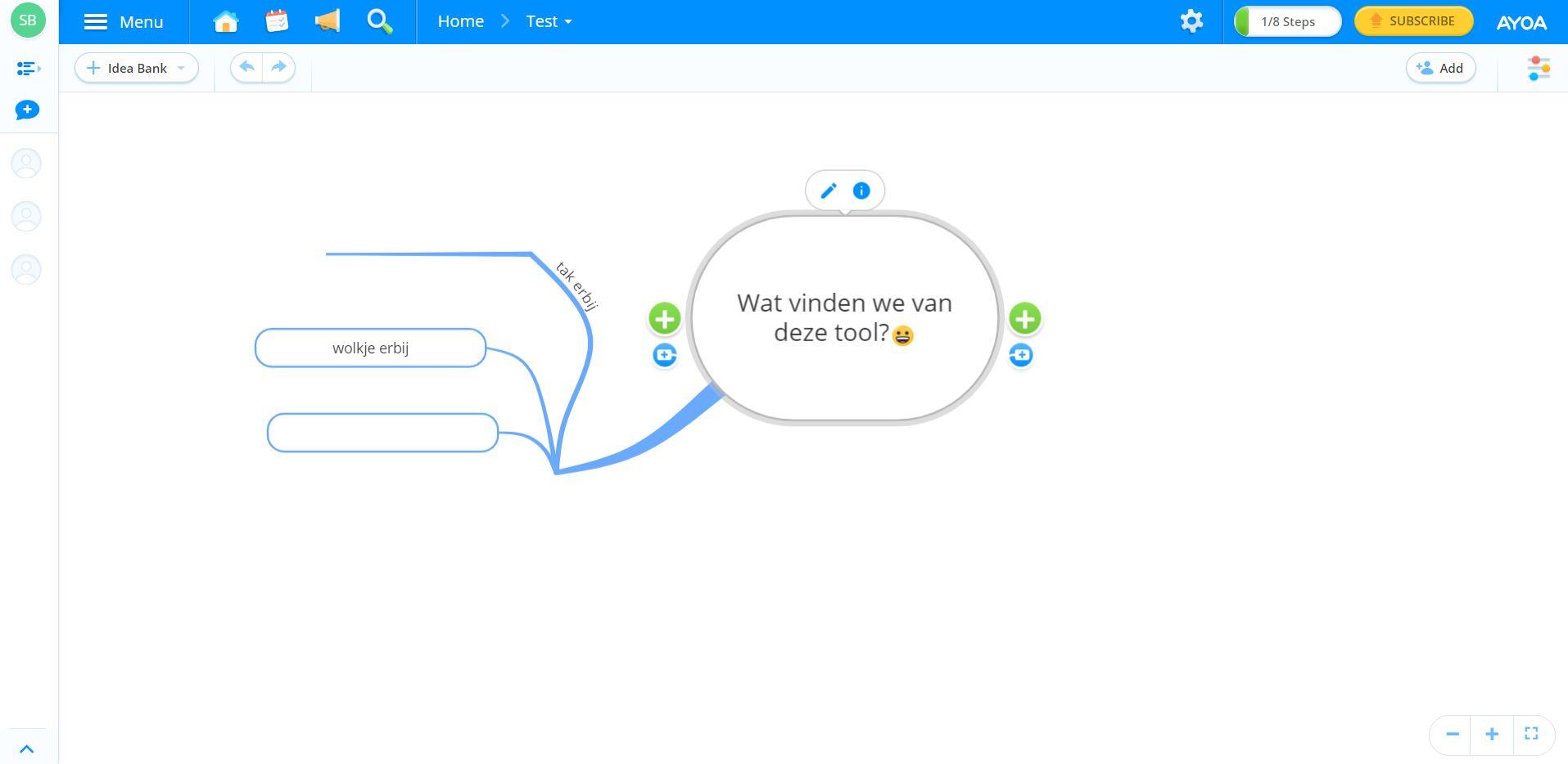 Screenshot van de tool Ayoa.