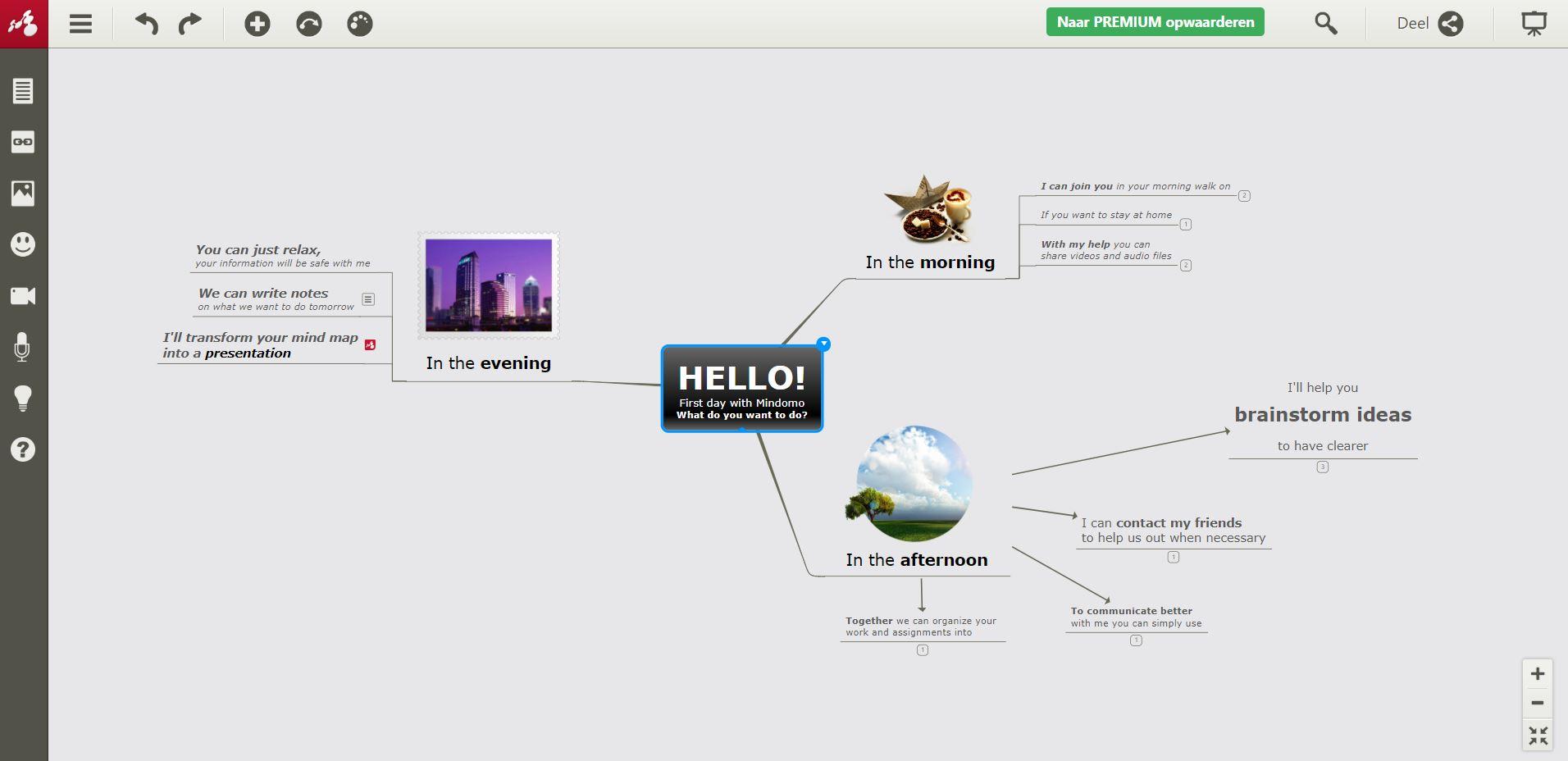 Screenshot van de tool Mindomo.