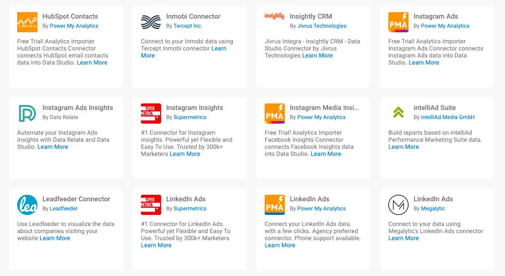 Soorten koppelingen Google Data Studio