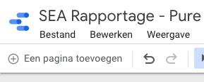 Pagina toevoegen in Google Data Studio