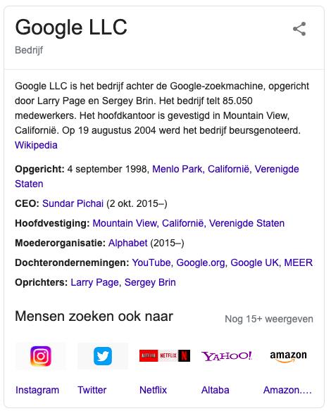 Een rich snippet van Google