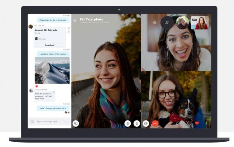 Screenshot van Skype, een tool voor online videobellen.