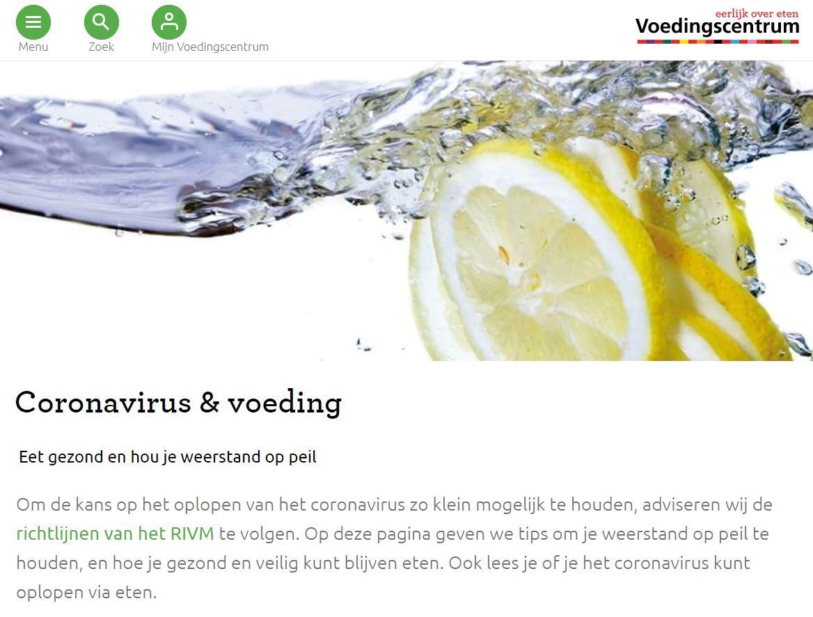 Screenshot van de website van het Voedingscentrum, zij haken in met een speciale pagina over het coronavirus.