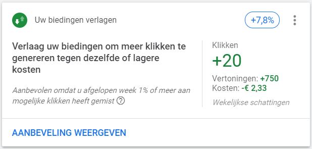 Verlaag biedingen Google ads