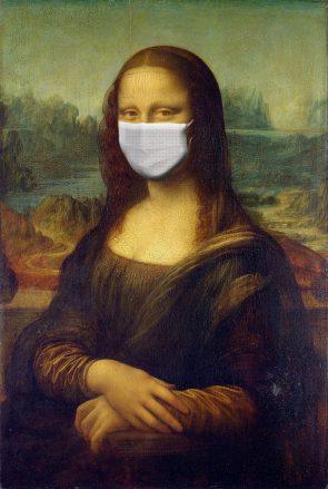 Mona Lisa met mondkapje.