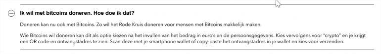 Rode Kruis Nederland over bitcoindonaties.