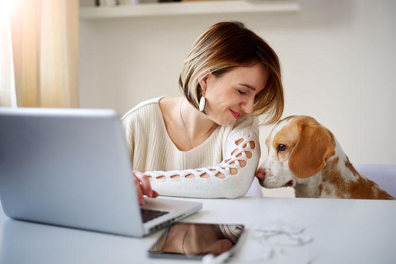 Vrouw werkt thuis met laptop en hond.