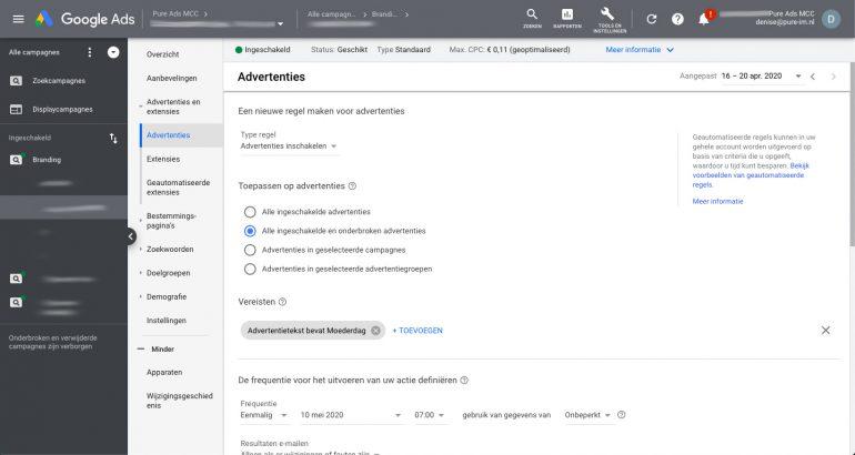Geautomatiseerde regels instellen in Google Ads