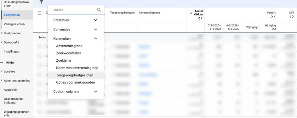 Inzicht in Google Ads van de zoektermen waarop letterlijk is gezocht.