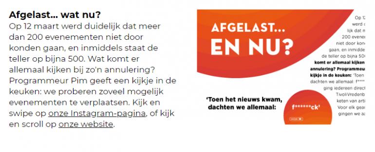 Onderdeel uit de nieuwsbrief van TivoliVredenburg