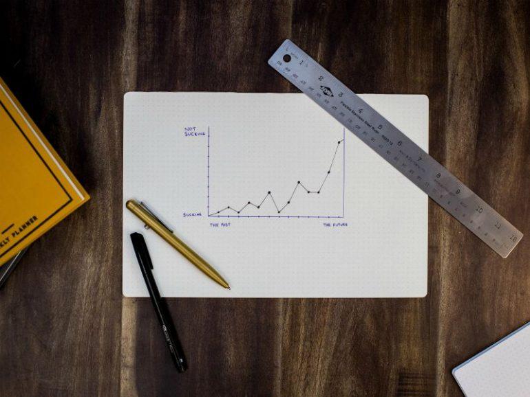 Grafiek met groei op papier - succesvolle onderneming.