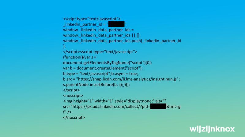 Het script voor de LinkedIn Insight Tag.