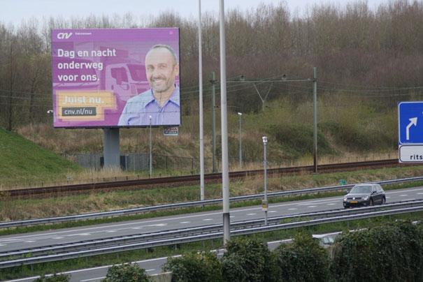 CNV billboard voor chauffeurs.