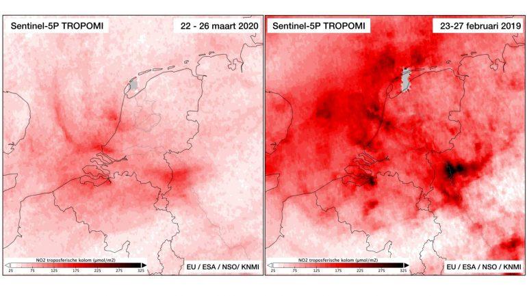Purpose: Door de afgenomen verkeersdrukte en uitstoot werd de lucht boven (ons)land een heel stuk schoner (afbeelding (c): NOS / KNMI)