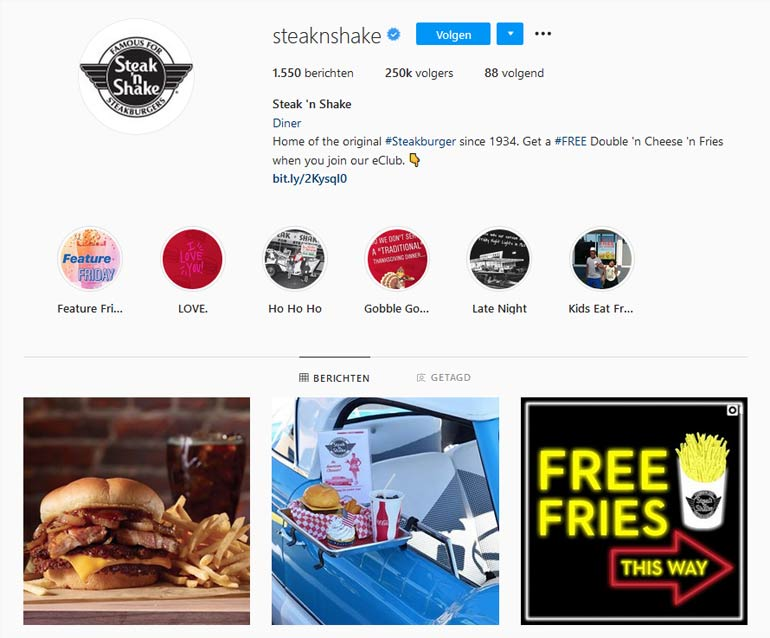 Steak n shake op Instagram.