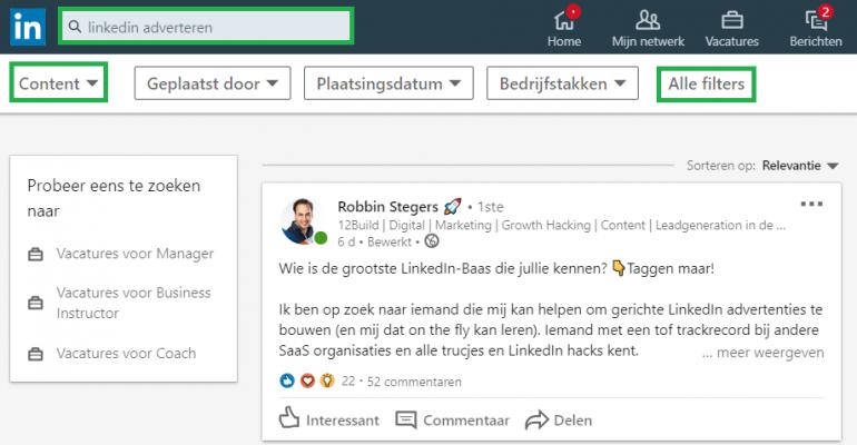Filters op LinkedIn: verfijnen