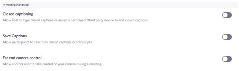 In meeting settings Zoom