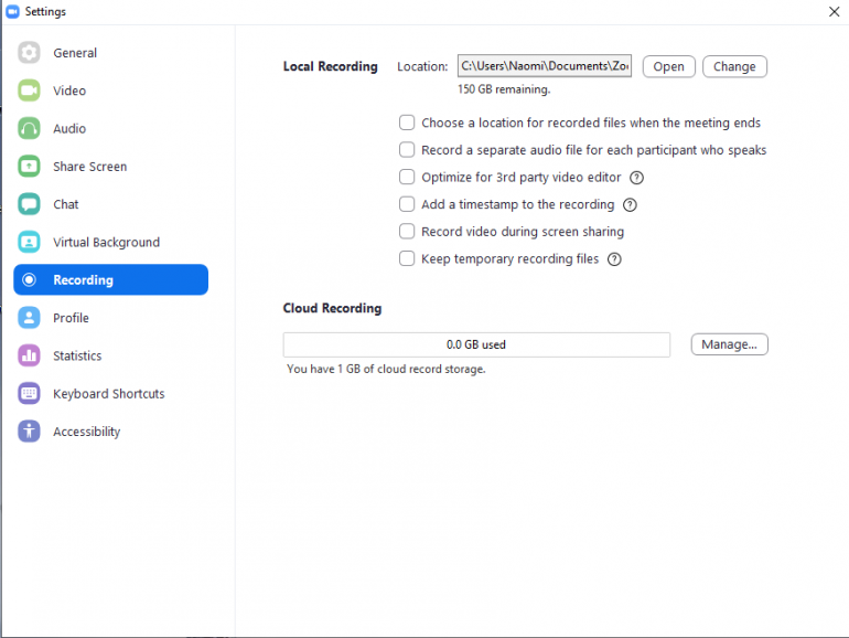 Recording settings in Zoom