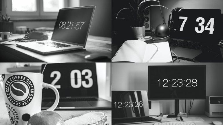 Collage van vier foto's van werkplekken met alle vier een andere tijd op het scherm