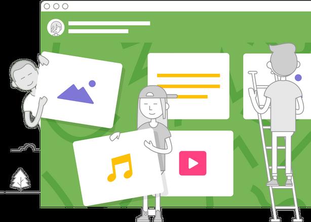 Grafische weergave van een Padlet-prikbord