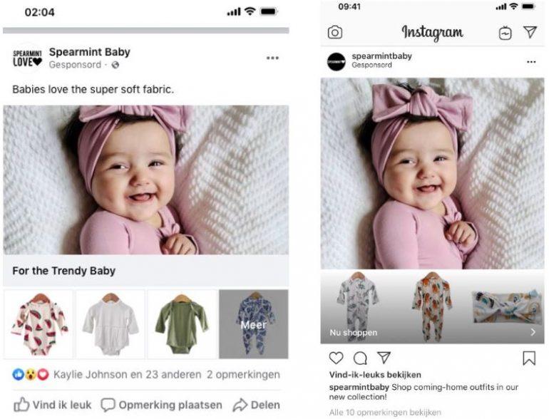 Hoe je shop eruit ziet in een post op Instagram en Facebook.