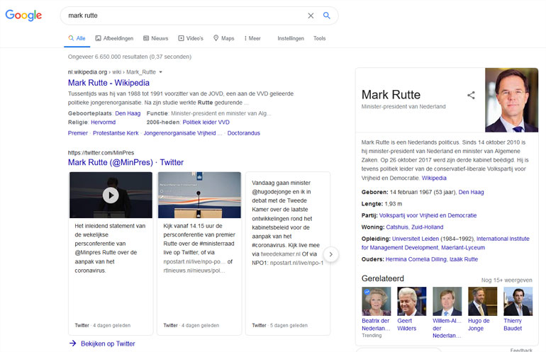 Knowledge graph van Google over Mark Rutte.
