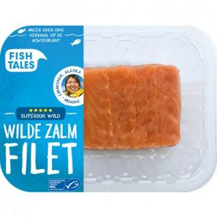 zalm Fish Tales met verhaal van visser op de verpakking.