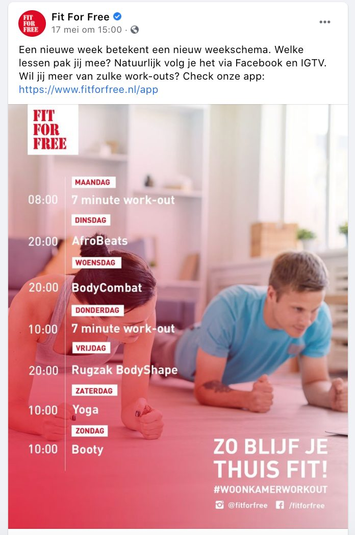 Fit for Free video Facebook.