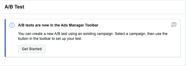 ads manager AB test toolbar voor A/B-testen op Facebook.