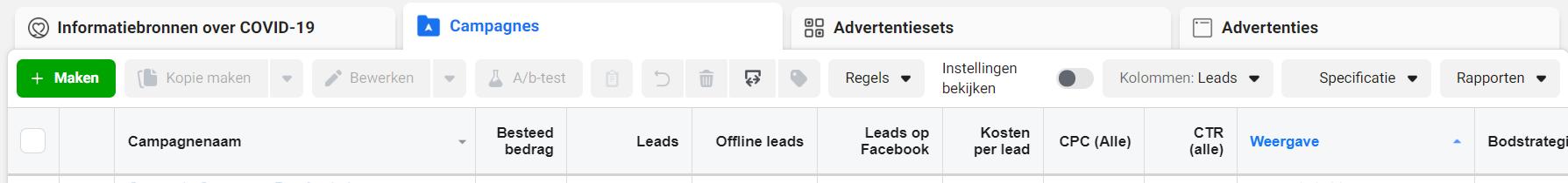 Facebook Toolbar, het startpunt van jouw Facebook-advertenties.