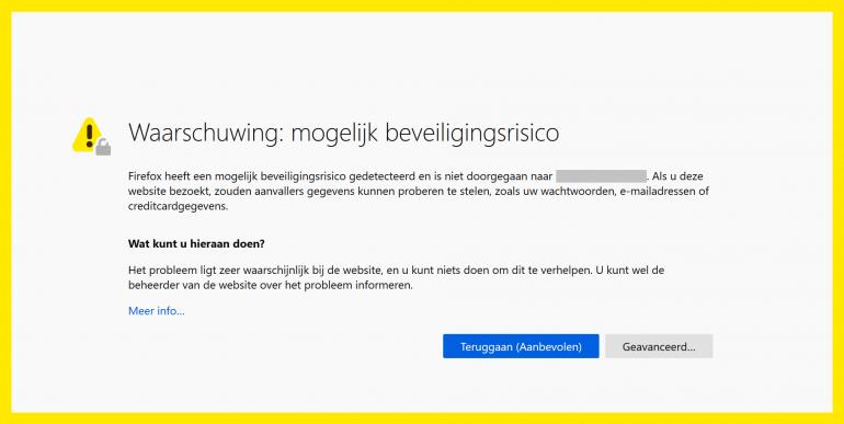 Afbeelding van een beveiligingswaarschuwing van Firefox wanneer er geen HTTPS beschikbaar is