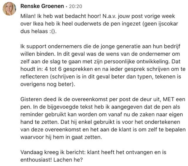 Een bericht van Renske Groenen over haar inzet van de IKEA-strategie.