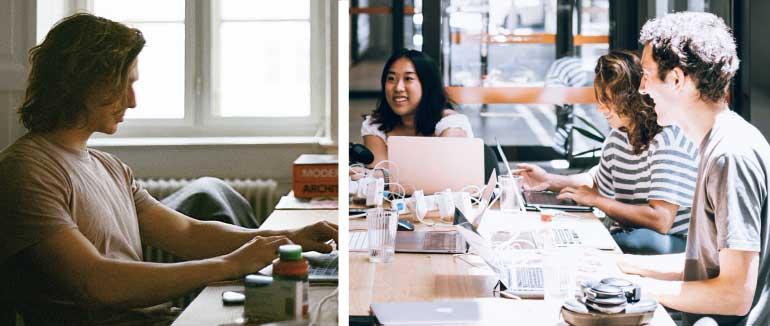 Collage van een foto van een persoon die thuiswerkt en een van drie personen die op kantoor werken.