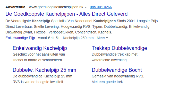 Advertentie-extensies in Google Ads.