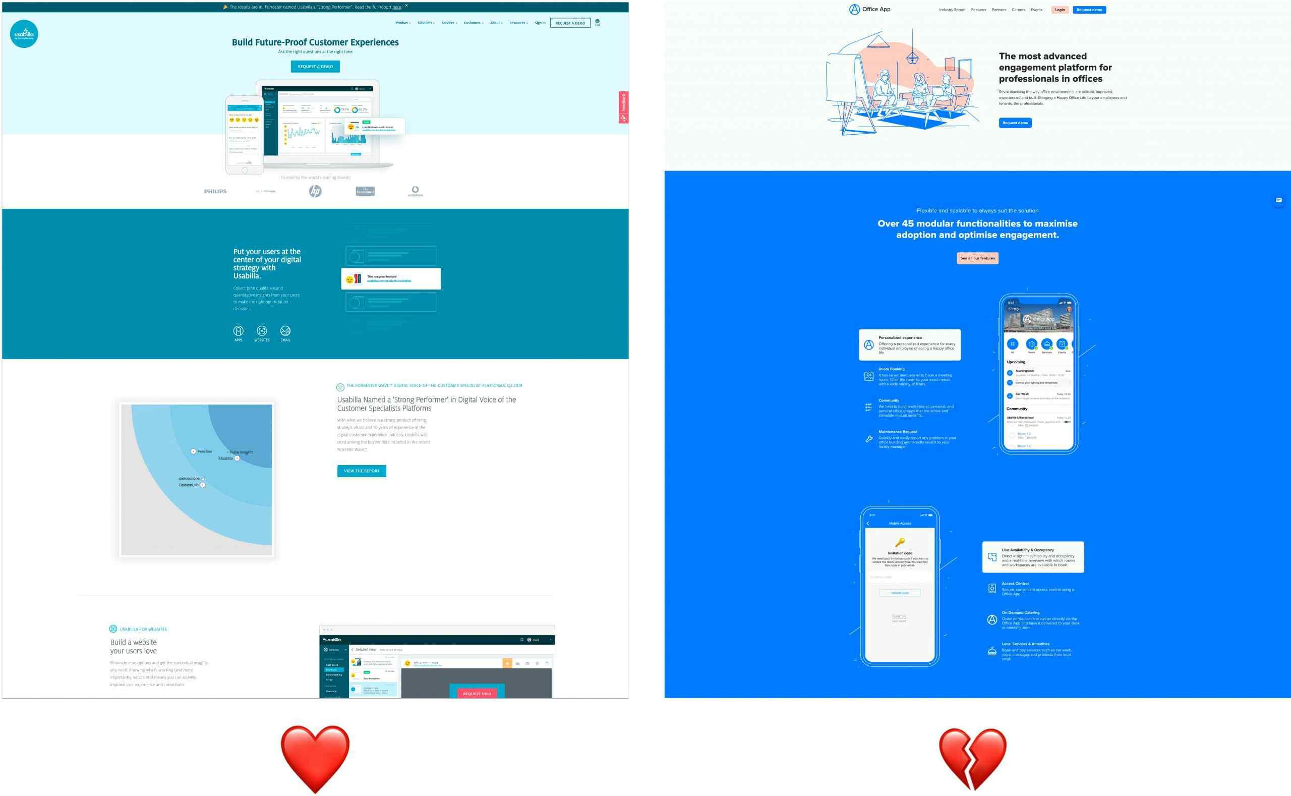 USP's en waardeproposities op websites.