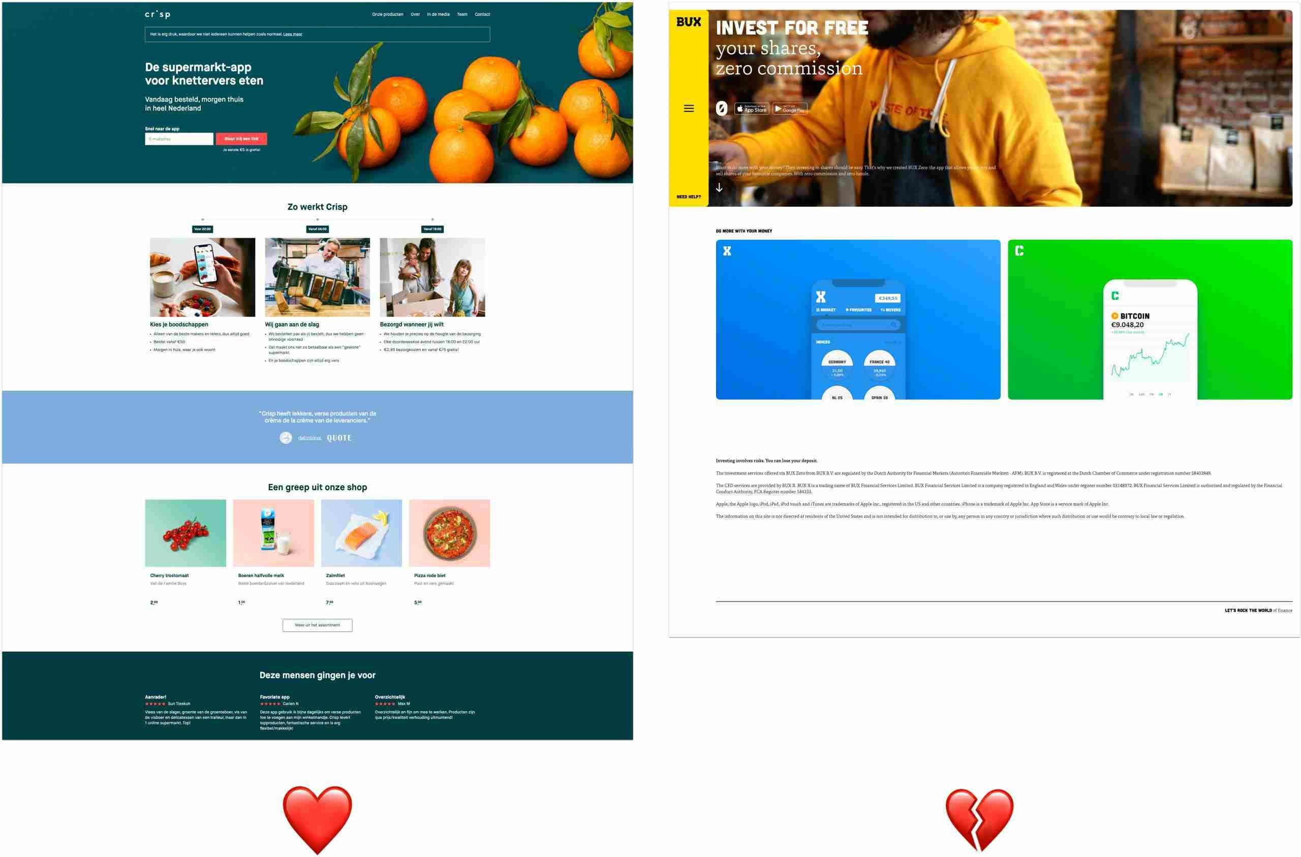 Voorbeelden van homepages.