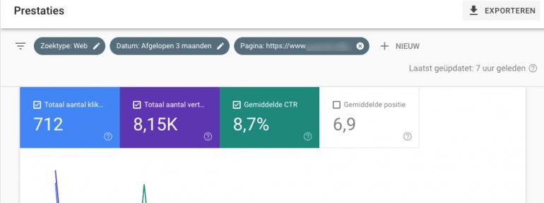Search Console prestatierapport - statistieken selecteren.