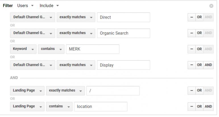 Segmenten in Google Analytics.